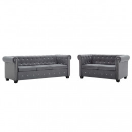 Canapé Chesterfield 2 pcs Revêtement en velours Gris
