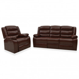 Ensemble de canapés inclinables 2 pcs Marron Similicuir