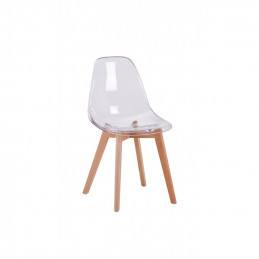 Lot de 2 chaises scandinaves assise transparente