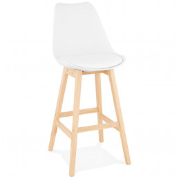 Tabouret de bar design APRIL Blanc pieds en bois Naturel