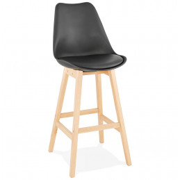 Tabouret de bar design APRIL Noir pieds en bois Naturel