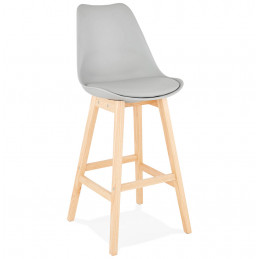 Tabouret de bar design APRIL Gris pieds en bois Naturel
