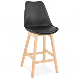 Tabouret de bar design APRIL MINI Noir pieds en bois Naturel