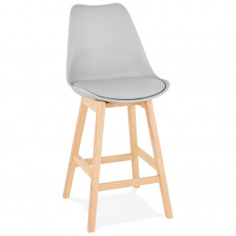 Tabouret de bar design APRIL Mini Gris pieds Bois naturel 102 Cm
