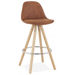 Tabouret de bar design AGOUTI MINI 65 Marron pieds en bois Naturel