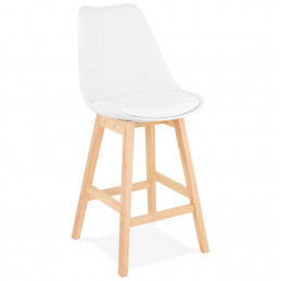 Tabouret de bar design APRIL MINI Blanc pieds en bois Naturel