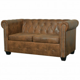 Canapé Chesterfield 2 places Cuir artificiel Marron