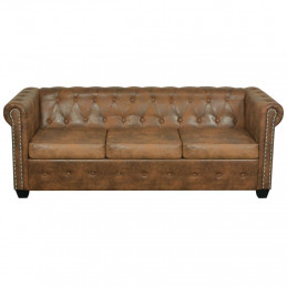 Canapé Chesterfield 3 places Cuir artificiel Marron