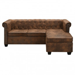 Canapé Chesterfield en forme de L Cuir daim synthétique Marron