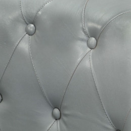 Canapé Chesterfield à 2 places Gris Cuir véritable