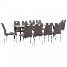 Ensemble de salle à manger 11 pcs Marron Similicuir